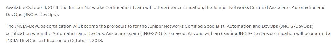 JNCIA-DevOps certification