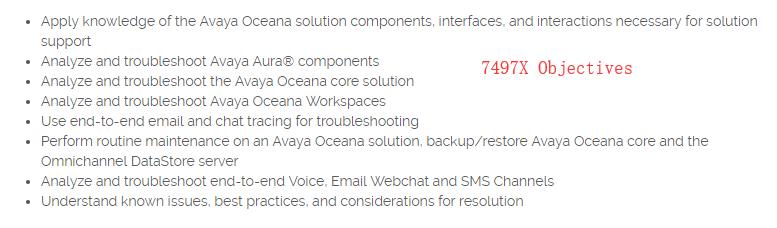 Avaya ACSS 7497X Exam Objectives